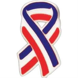 Plastic Patriotic Ribbon Shape Lapel Pin With A Clutch Style Back