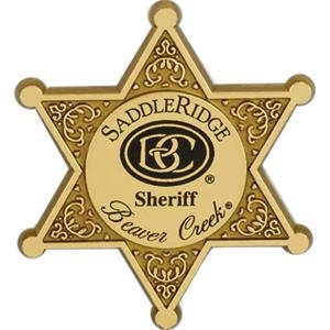 Six Point Plastic Star Badge With Circle Center For Imprint