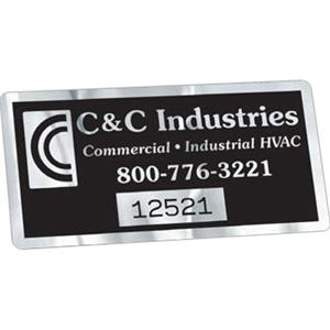 "Idento (r) - Brushed Chrome - 2"" X 4"" Identification Decal With Permanent Adhesive"