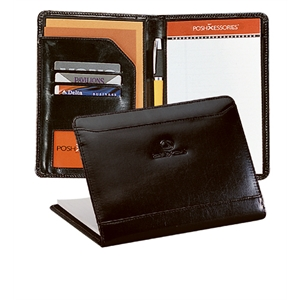 Atlantis - Black - Leather Junior Padfolio With Front Cover Storage Pocket