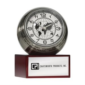 Brushed Aluminum World Time 24 City Globe Clock With Finished Wood Base