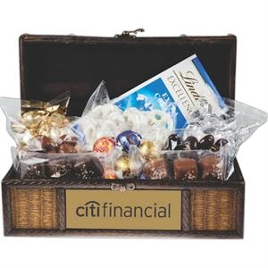 Wooden Executive Treasure Chest w Assorted Candy & Chocolate
