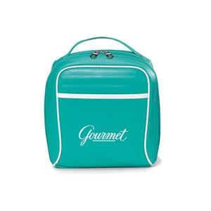 Turquoise - Retro Leatherette Lunch Cooler With Trendy Accent Piping