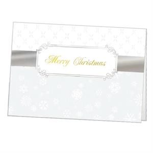 "Silver Christmas Ribbon - Classic - Holiday Greeting Card 5"" X 7"" In Size With Stock Design"