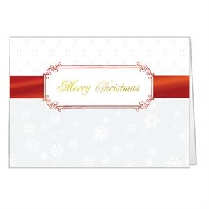 "Red Christmas Ribbon - Classic - Holiday Greeting Card 5"" X 7"" In Size With Stock Design"