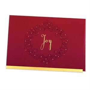 "Red Joy Wreath - Classic - Premium Holiday Greeting Card 5"" X 7"" In Size With Stock Design"