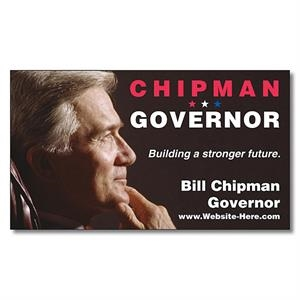"Political Business Card Magnet - 3.5"" X 2"" Rectangle With Square Corners - 25 Mil"