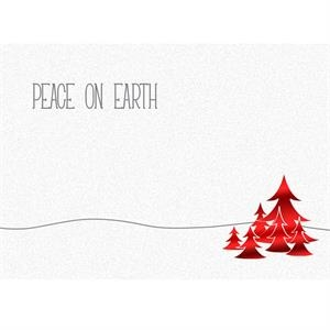 "Peace On Earth With Red Trees - Premium - Holiday Greeting Card 5"" X 7"" In Size With Stock Design"