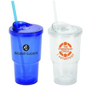 20 Oz. Double Wall Acrylic Stadium Cup With Matching Color Screw-on Lid And Straw