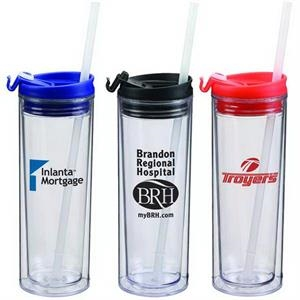 14 Oz. Double Wall Acrylic Tumbler With Snap Close Sip Top And A Straw