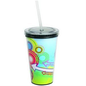 16 Oz Double Wall Acrylic Cup With Full Color Process Paper Insert