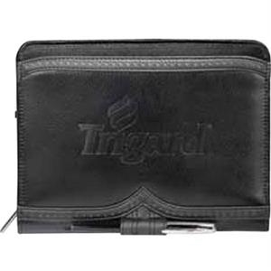 Wingtip - Pebble Grain Premier Leather Junior Zippered Padfolio With Built-in Calculator