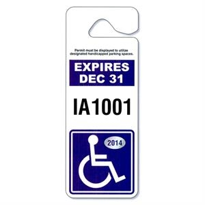 "4"" X 3 1/2"" White Reflective Jumbo Hang Tag Parking Permit"