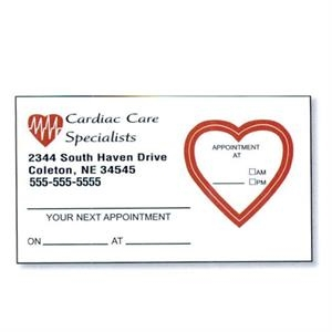 "3 1/2"" X 2"" 4-color Process Printed Appointment Card With Removable Label"