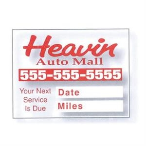 "2"" X 1 1/2"" Individual, Clear Static Stick Service Decal With Screen Print"