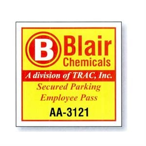 "3"" X 3"" White Reflective Parking Permit"
