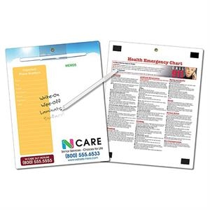 Healthcare Memo Board - 8.5 X 11 Laminated - 14 Pt. Get Healthy - Get The Message!