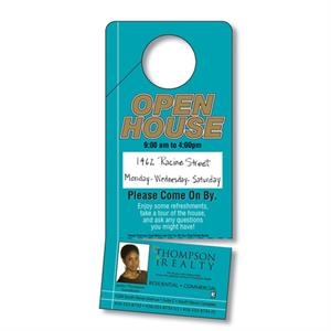 Plastic Door Hanger - 3.5 X 8 Uv-coated (1s) With Slit And Detachable Business Card