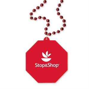 "Stop Sign Shaped Medallion On 33"" Long Necklace With 7 1/2mm Beads"