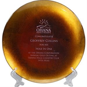 Athens - Glass, Gold Leafed Plate Award With Acrylic Stand