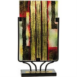 Pacesetter - Handpainted Rectangle Art Glass With Metal Stand