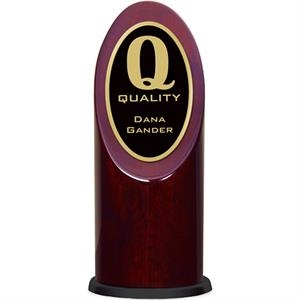 Ovation - Rosewood Oval Tower Award With Beveled Brass Trim