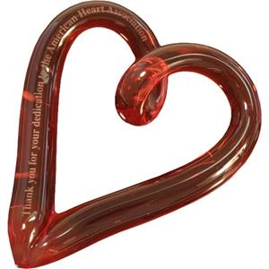 Eros - Handblown Glass Twisted Heart Shaped Paperweight