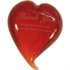 Ruby - Handblown Glass Solid Heart Shaped Paperweight