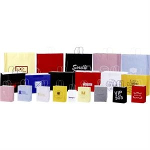 "High Gloss Colors Paper Shopping Bag. 8"" X 4 1/2"" X 10 1/4"". Blank"