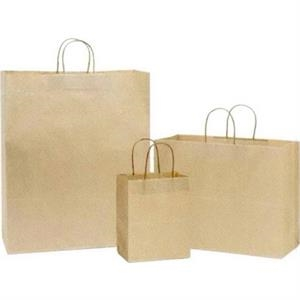 "Oatmeal Kraft Paper Shopping Bag. 8"" X 4 1/2"" X 10 1/4"". Blank"