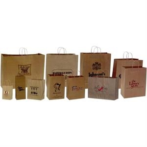 "Natural Kraft Paper Shopping Bag. 8"" X 4 1/2"" X 10 1/4"". Blank"