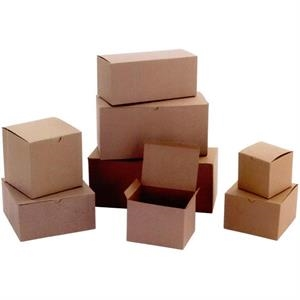 "8"" X 8"" X 3 1/2"" - Natural Kraft Shadow Stripe Stock 1 Piece Quick Lock Giftware Boxes"