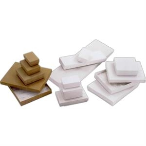 "3 1/16"" X 2 1/8"" X 1"" - White Krome Cotton Filled Jewelry Boxes"
