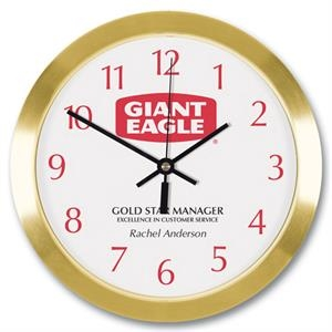 "Metal Wall Clock 10"" Diameter With Glass Lens"