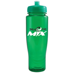Poly Clean (tm) - Translucent Green - 28 Oz Translucent Water Bottle And Matching Pull Top Lid. Made In The U.s.a