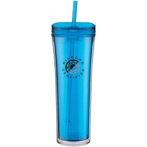 Boost - Aqua - 20 Oz Acrylic Double Wall Tumbler With Threaded Lid Featuring A Clear Outer Wall