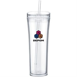 Boost - Clear - 20 Oz Acrylic Double Wall Tumbler With Threaded Lid Featuring A Clear Outer Wall