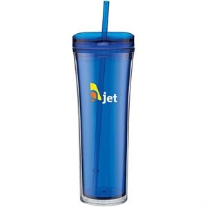 Boost - Blue - 20 Oz Acrylic Double Wall Tumbler With Threaded Lid Featuring A Clear Outer Wall