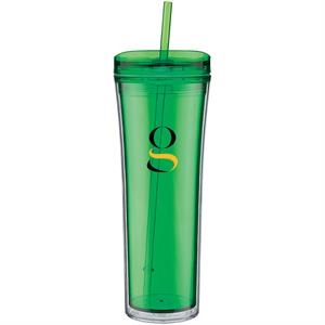 Boost - Apple - 20 Oz Acrylic Double Wall Tumbler With Threaded Lid Featuring A Clear Outer Wall