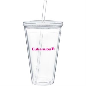Spirit - Clear - 24 Oz Acrylic Double Wall Tumbler With Threaded Lid And Matching Straw