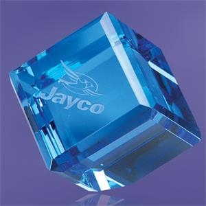 Giannico Blue Cube Paperweight 2""