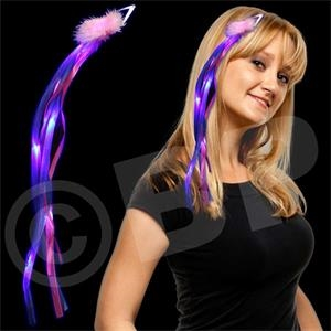 "15"" Diva Hair Clip With Pink And Blue Ribbons, 7 Leds, Blank"