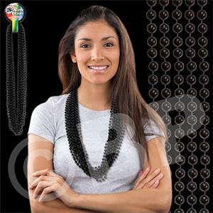 "Black Metallic Round Beaded Mardi Gras Beads Necklace, 33"" (7mm), Blank"