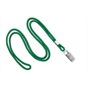 Kelly Green Blank Round Lanyard with Bulldog Clip
