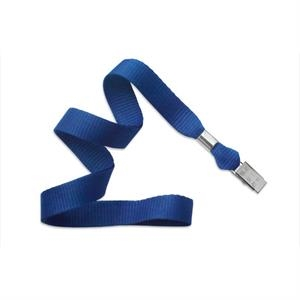 "5/8"" Royal Blue Flat Blank Lanyards with Bulldog Clip"