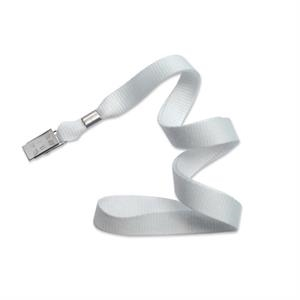 White Flat Blank Lanyard With Bulldog Clip