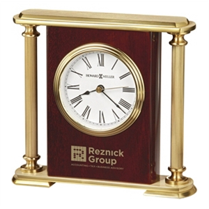 Rosewood Encore Basket - High Gloss Rosewood Finished Clock With Polished Brass Fluted Pillars