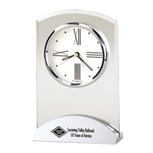 Tribeca - Beveled Glass Alarm Clock With A Brushed And Polished Aluminum Base