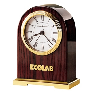 Carter - Large Rosewood Finished Desk Clock With A Polished Brass Finished Base