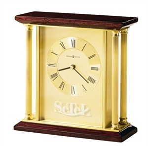 Carlton - Tabletop Clock With High Gloss Rosewood Finish And Roman Numerals On Dial